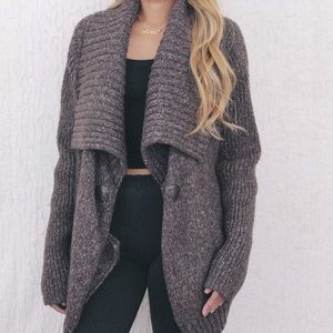 Sweaters - Brown Speckled Knit Shawl Cardigan